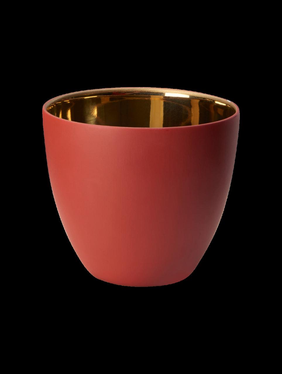 Windlicht Rot, innen gold glänzend