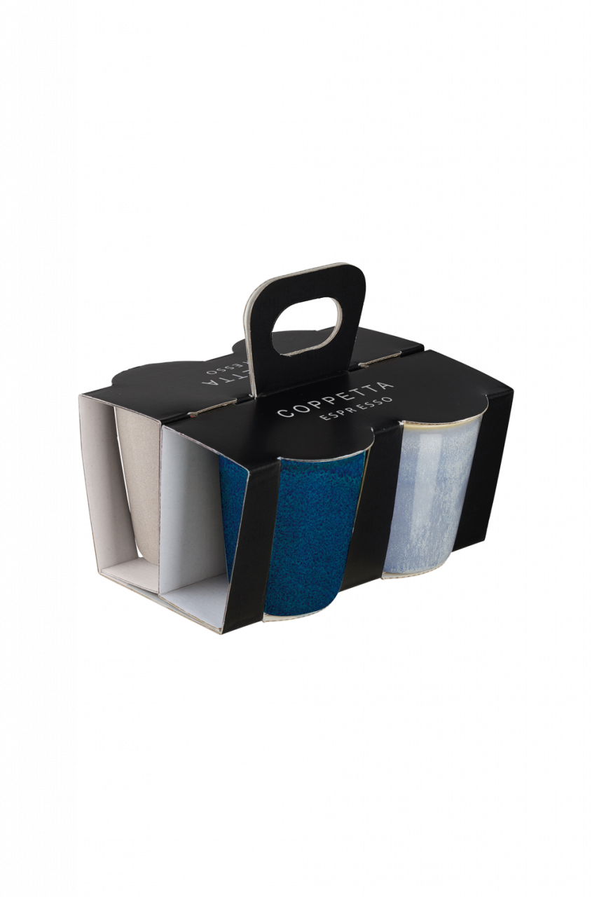 4er Set Espressobecher, Effektglasur