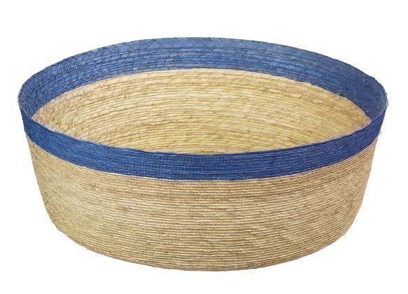 Korb L rund, natur mit hellbla