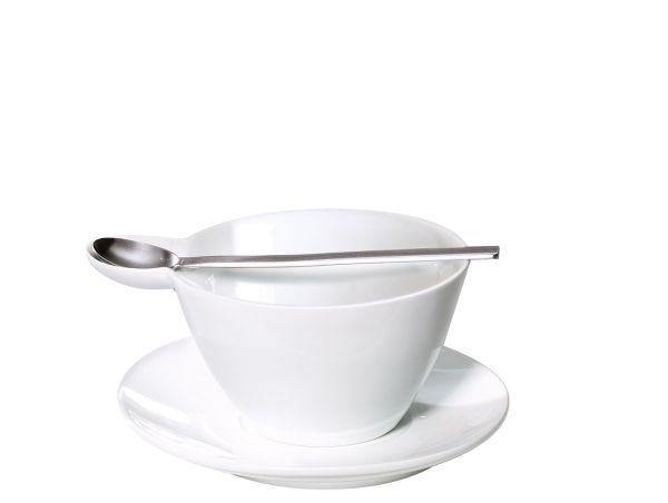 Suppentasse mit Unterer u. Löffel