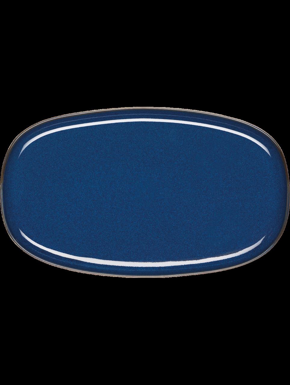 Platte, oval, midnight blue