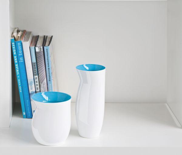 *Vase L weiß/türkis