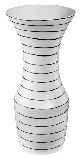 Vase, weiß mit schwarzen Strei