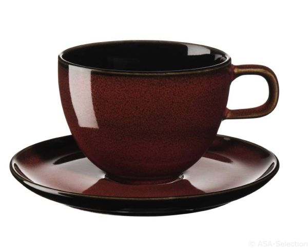 Kaffeetasse mit Unterer, rusty red