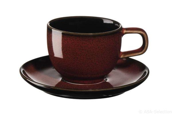Espressotasse mit Unterer, rusty red