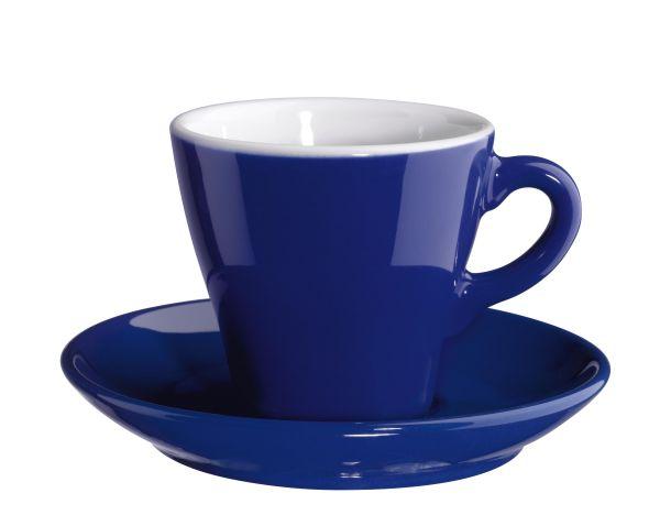 Cappuccinotasse mit Unterer, dunkelblau