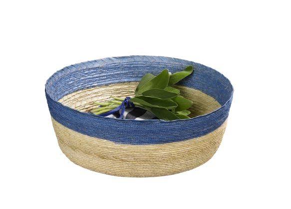 Korb S rund,natur mit hellblau