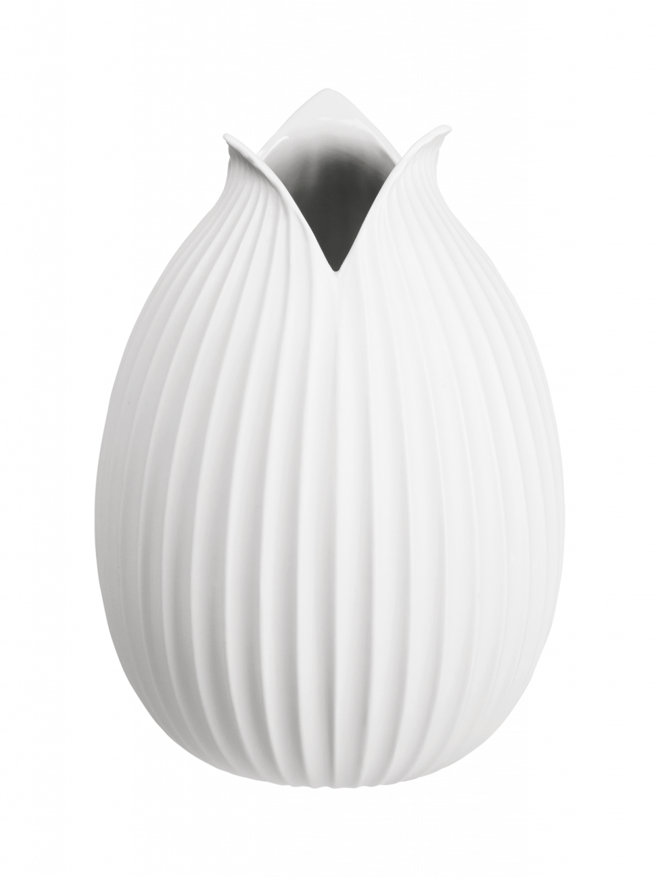 Vase, weiß mit Rillenstruktur