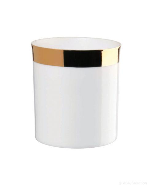 Windlicht zylindrisch mit Goldrand