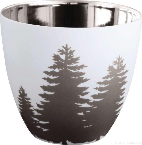 Windlicht Bäume weiß/silber