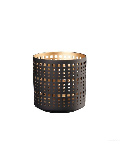 Windlicht schwarz/gold M