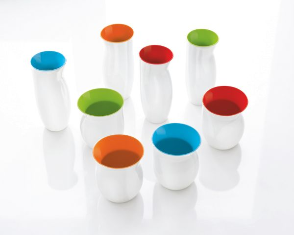 *Vase M weiß/orange