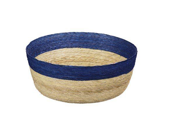 Korb S rund, natur mit dunkelblauem Rand